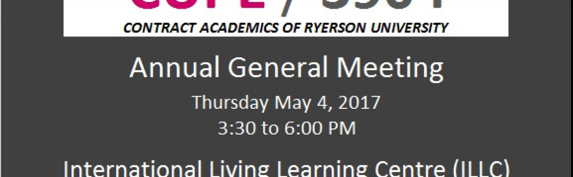 CUPE 3904 Annual General Meeting (Thursday, May 04, 2017)
