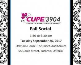 CUPE 3904 Fall Social (Tuesday September 26, 2017)