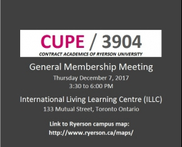 General Membership Meeting (Thursday December 7, 2017)